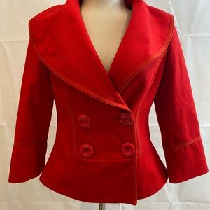 Vintage Red Double Breasted Guess Short Peacoat L